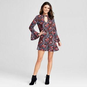Xhilaration Ruffle Bell Sleeve Floral Mini Dress M